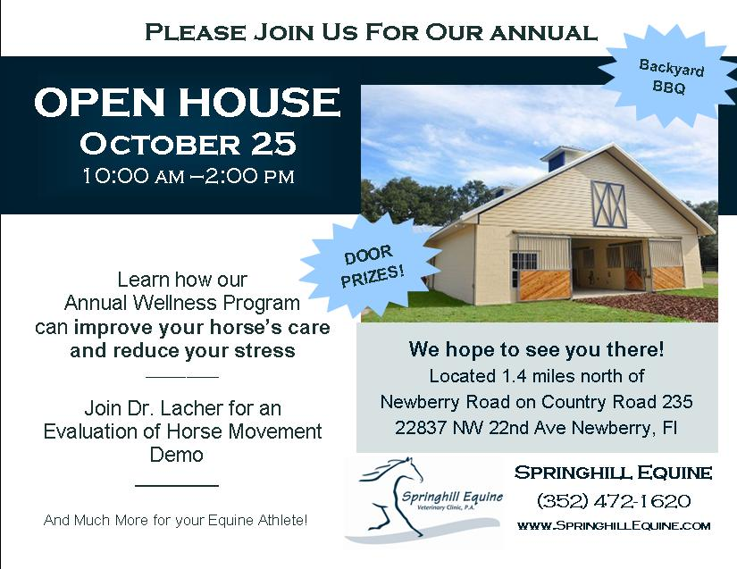 Open House Postcard 2015 - Springhill Equine Veterinary Clinic